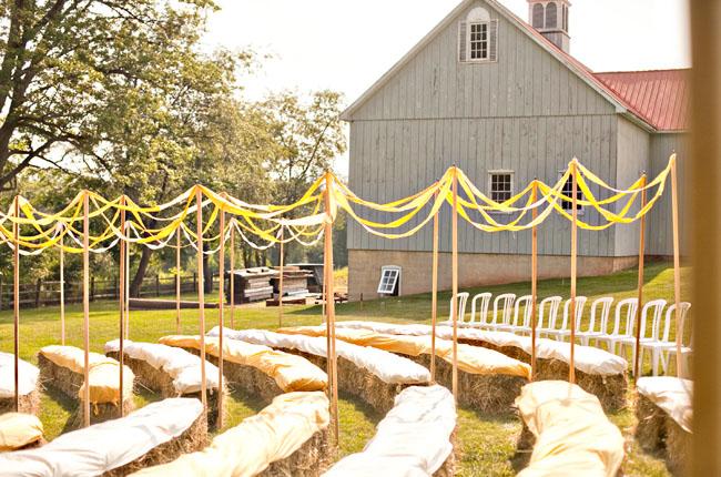 Straw bale seating at rustic wedding wedding hay bales ceremony seating